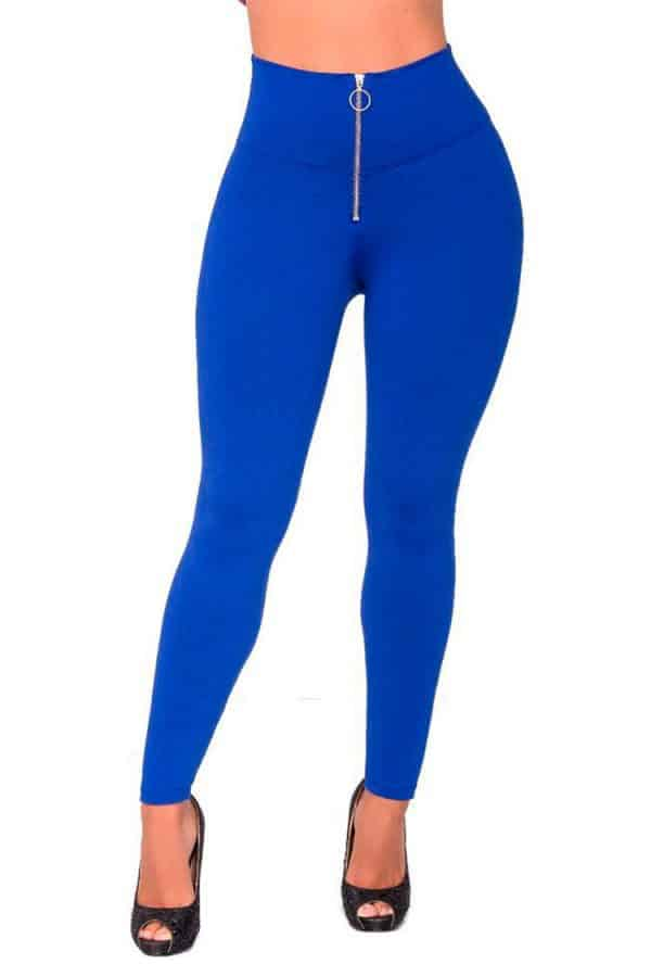 Front-zip-waist-leggings-Blue-Front