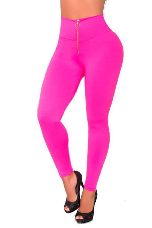 Front-zip-waist-leggings-Fucsia-Front