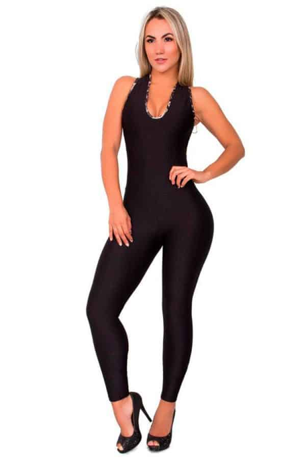 Jumpsuit-printed-straps-back-Black-Front