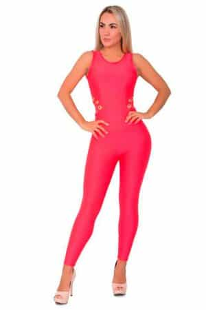 Jumpsuit-with-eyelets-Red-Front
