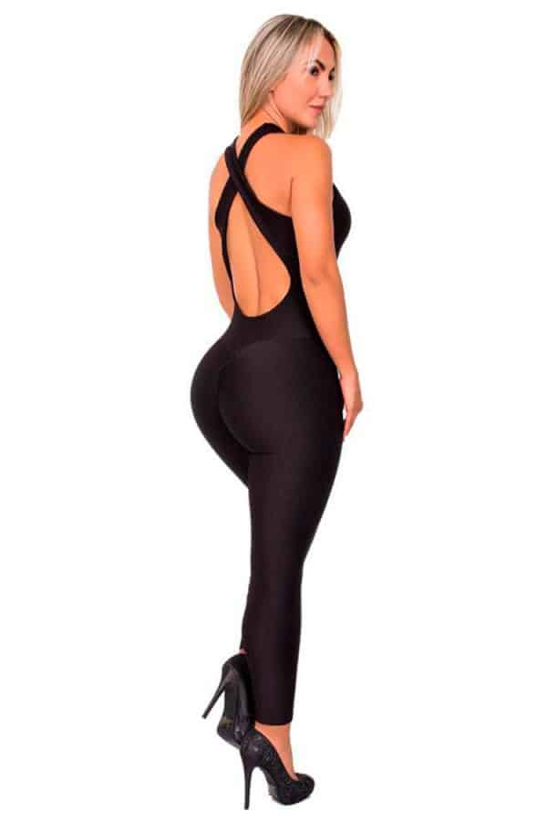 Textured-Fabric-Cross-Back-Stripes-Jumpsuit-Black-Back