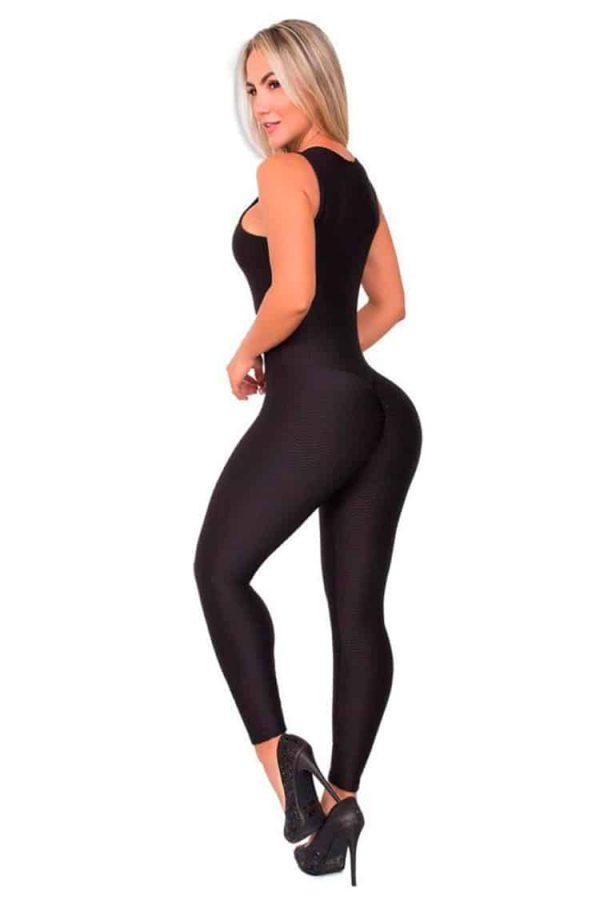 Textured-Fabric-Jumpsuit-Black-Back