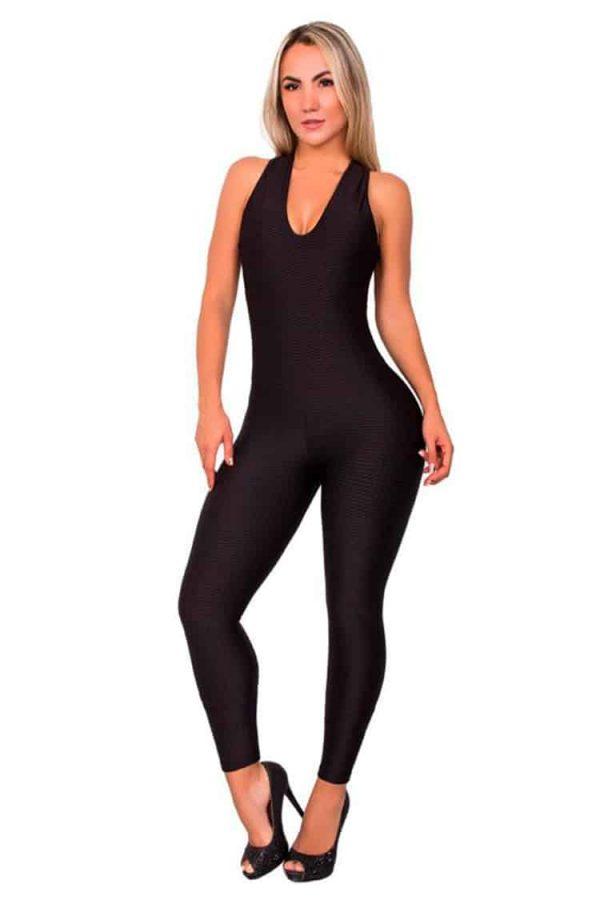 Textured-Fabric-Jumpsuit-Black-Front