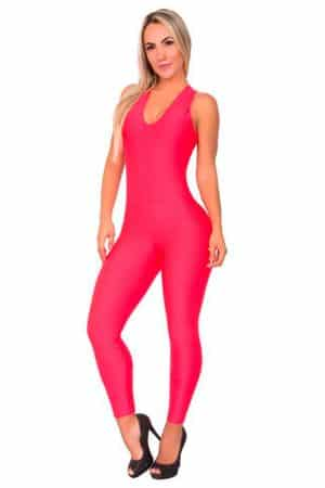 Textured-Fabric-Jumpsuit-Red-Front