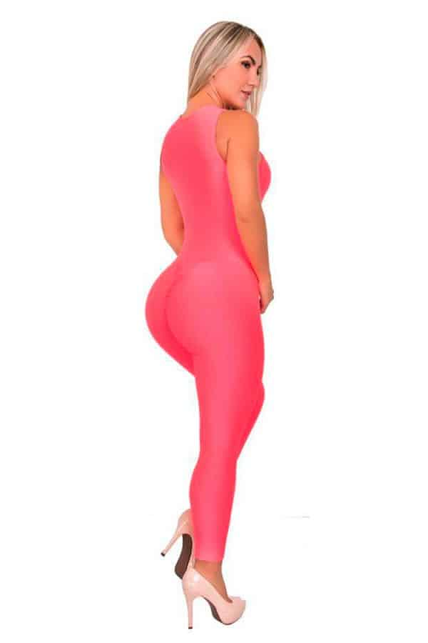 Textured-Fabric-Zip-Front-Jumpsuit-Salmon-Back