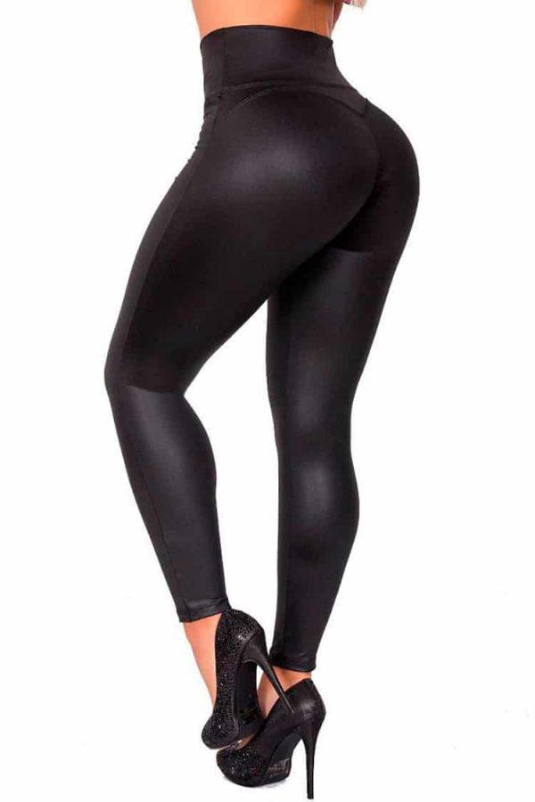 Waist-reducing-leggings-leatherette-Zipper-Black-Back