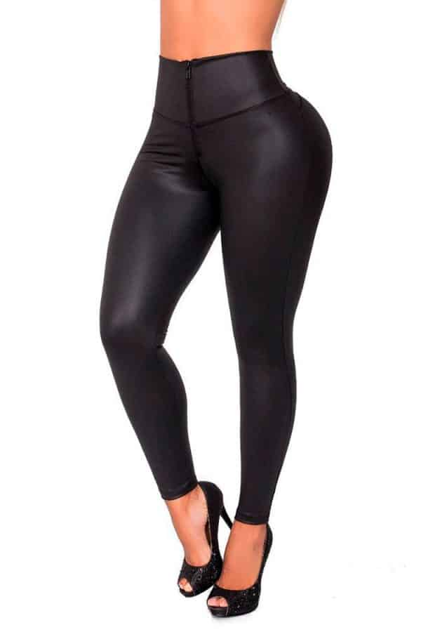 Waist-reducing-leggings-leatherette-Zipper-Black-Front