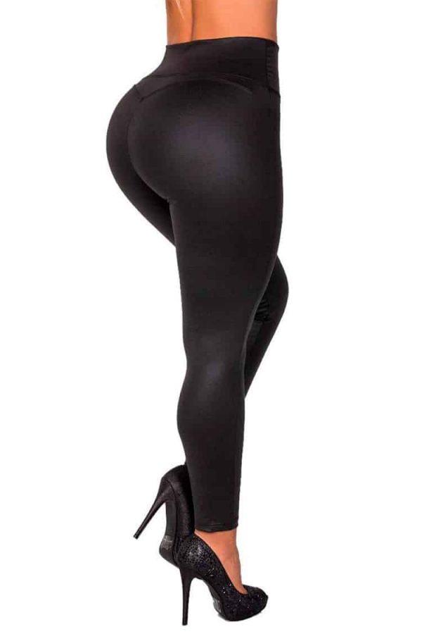 Waist-reducing-leggings-leatherette-Zipper-White-Back