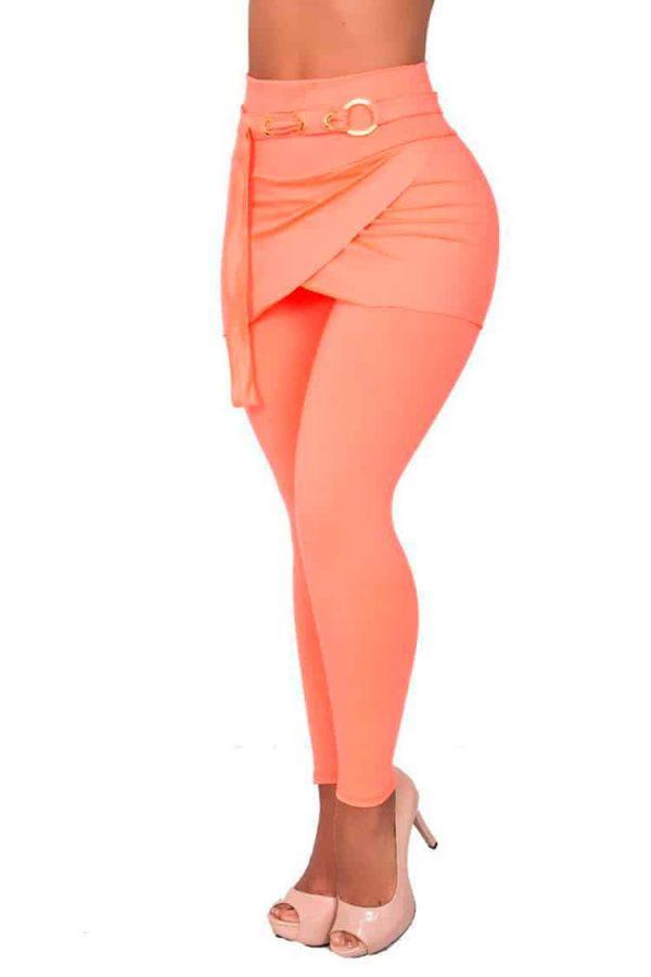 Waist-reducing-leggings-skirt-Salmon-Front