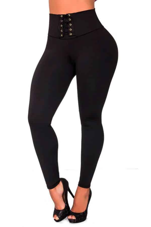 Waist-reducing-leggings-with-eyelets-Black-Front