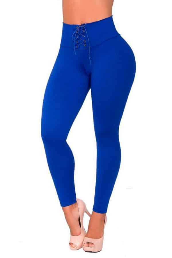 Waist-reducing-leggings-with-eyelets-Blue-Front