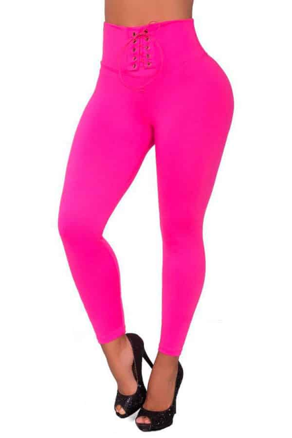 Waist-reducing-leggings-with-eyelets-Fucsia-Front